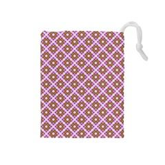 Crisscross Pastel Pink Yellow Drawstring Pouches (medium)  by BrightVibesDesign