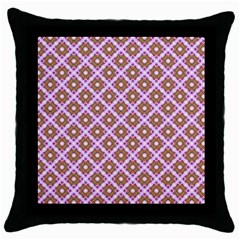 Crisscross Pastel Pink Yellow Throw Pillow Case (black) by BrightVibesDesign