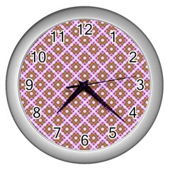 Crisscross Pastel Pink Yellow Wall Clocks (silver)  by BrightVibesDesign