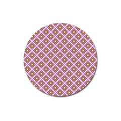 Crisscross Pastel Pink Yellow Magnet 3  (round)