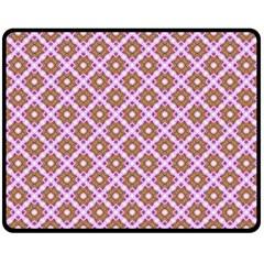 Crisscross Pastel Pink Yellow Double Sided Fleece Blanket (medium)  by BrightVibesDesign