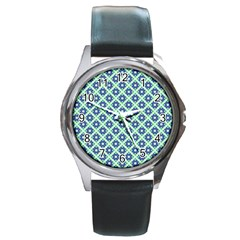 Crisscross Pastel Turquoise Blue Round Metal Watch by BrightVibesDesign