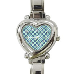 Crisscross Pastel Turquoise Blue Heart Italian Charm Watch by BrightVibesDesign