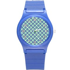 Crisscross Pastel Turquoise Blue Round Plastic Sport Watch (s) by BrightVibesDesign