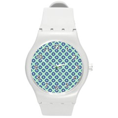 Crisscross Pastel Turquoise Blue Round Plastic Sport Watch (m) by BrightVibesDesign