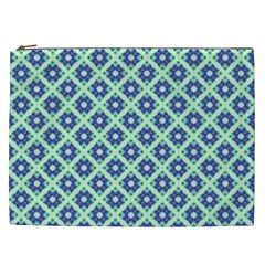 Crisscross Pastel Turquoise Blue Cosmetic Bag (xxl)  by BrightVibesDesign