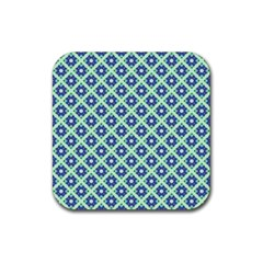 Crisscross Pastel Turquoise Blue Rubber Square Coaster (4 Pack)  by BrightVibesDesign