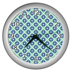 Crisscross Pastel Turquoise Blue Wall Clocks (silver)  by BrightVibesDesign