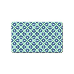 Crisscross Pastel Turquoise Blue Magnet (Name Card) by BrightVibesDesign