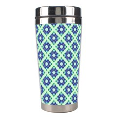 Crisscross Pastel Turquoise Blue Stainless Steel Travel Tumblers by BrightVibesDesign