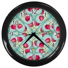 Love Motif Pattern Print Wall Clocks (black) by dflcprints
