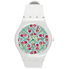 Love Motif Pattern Print Round Plastic Sport Watch (m) by dflcprints