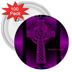 Purple Celtic Cross 3  Buttons (100 Pack)  by morbidcouture