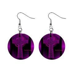 Purple Celtic Cross Mini Button Earrings