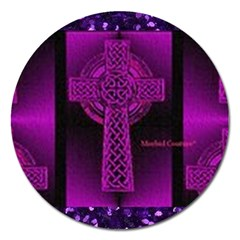 Purple Celtic Cross Magnet 5  (round) by morbidcouture