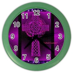 Purple Celtic Cross Color Wall Clocks by morbidcouture