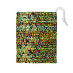 Multicolored Digital Grunge Print Drawstring Pouches (large)  by dflcprints