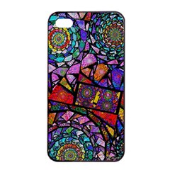 Fractal Stained Glass Apple Iphone 4/4s Seamless Case (black) by WolfepawFractals