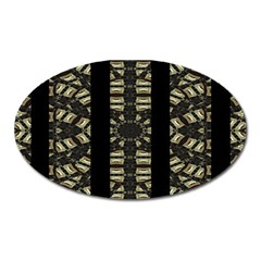 Vertical Stripes Tribal Print Oval Magnet by dflcprints
