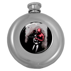 Be Scared Round Hip Flask (5 Oz) by lvbart