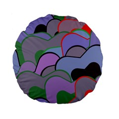 Wavy Shapes Pieces                                                                          standard 15  Premium Flano Round Cushion by LalyLauraFLM