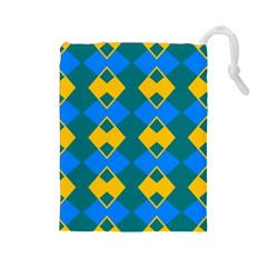 Blue Yellow Rhombus Pattern                                                                           Drawstring Pouch by LalyLauraFLM