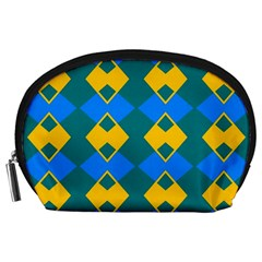 Blue Yellow Rhombus Pattern                                                                           Accessory Pouch by LalyLauraFLM