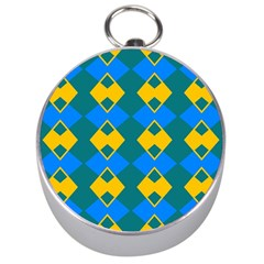 Blue Yellow Rhombus Pattern                                                                           Silver Compass by LalyLauraFLM
