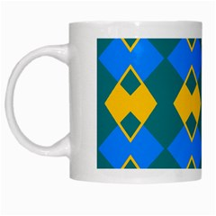 Blue Yellow Rhombus Pattern                                                                           White Mug by LalyLauraFLM