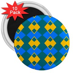 Blue Yellow Rhombus Pattern                                                                           			3  Magnet (10 Pack) by LalyLauraFLM