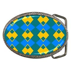 Blue Yellow Rhombus Pattern                                                                           belt Buckle by LalyLauraFLM