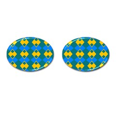 Blue Yellow Rhombus Pattern                                                                           			cufflinks (oval) by LalyLauraFLM