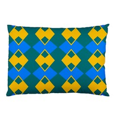 Blue Yellow Rhombus Pattern                                                                           			pillow Case by LalyLauraFLM