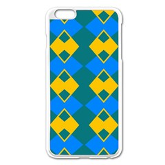 Blue Yellow Rhombus Pattern                                                                           			apple Iphone 6 Plus/6s Plus Enamel White Case by LalyLauraFLM
