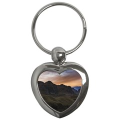 Sunset Scane At Cajas National Park In Cuenca Ecuador Key Chains (heart)  by dflcprints
