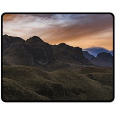 Sunset Scane At Cajas National Park In Cuenca Ecuador Double Sided Fleece Blanket (medium)  by dflcprints