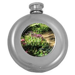 Shadowed Ground Cover Round Hip Flask (5 Oz) by ArtsFolly