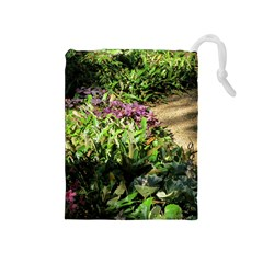 Shadowed Ground Cover Drawstring Pouches (medium)  by ArtsFolly
