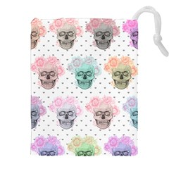 Floral Skull Sketch Drawstring Pouches (xxl)