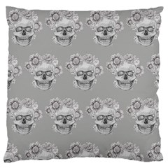Grey Floral Skull Sketch Cushion Large Flano Cushion Case (two Sides) by Coralascanbe