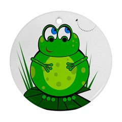 Green Frog Ornament (round)  by Valentinaart