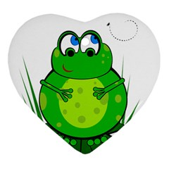 Green Frog Ornament (heart)  by Valentinaart
