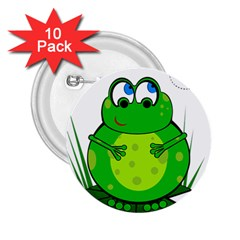 Green Frog 2 25  Buttons (10 Pack)  by Valentinaart