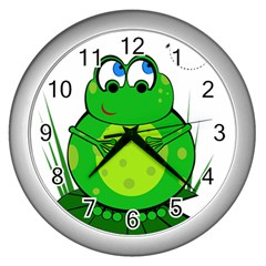 Green Frog Wall Clocks (silver)  by Valentinaart