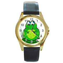 Green Frog Round Gold Metal Watch by Valentinaart