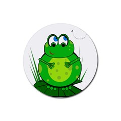 Green Frog Rubber Round Coaster (4 Pack)  by Valentinaart