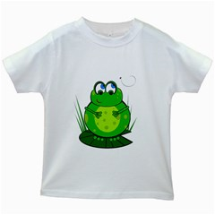 Green Frog Kids White T Shirts by Valentinaart