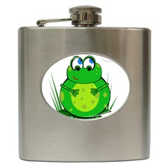Green Frog Hip Flask (6 Oz) by Valentinaart