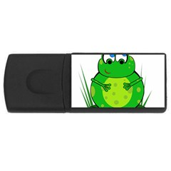 Green Frog Usb Flash Drive Rectangular (4 Gb)  by Valentinaart
