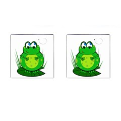 Green Frog Cufflinks (square) by Valentinaart